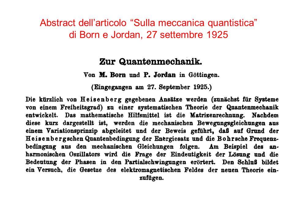 Abstract dellarticolo Sulla meccanica quantistica di Born e Jordan, 27 settembre 1925