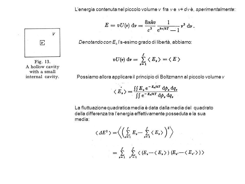 Lenergia contenuta nel piccolo volume v fra e + d è, sperimentalmente: Denotando con E s ls-esimo grado di libertà, abbiamo: Possiamo allora applicare il principio di Boltzmann al piccolo volume v La fluttuazione quadratica media è data dalla media del quadrato della differenza tra lenergia effettivamente posseduta e la sua media:
