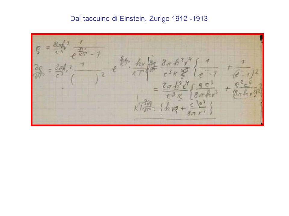Dal taccuino di Einstein, Zurigo 1912 -1913