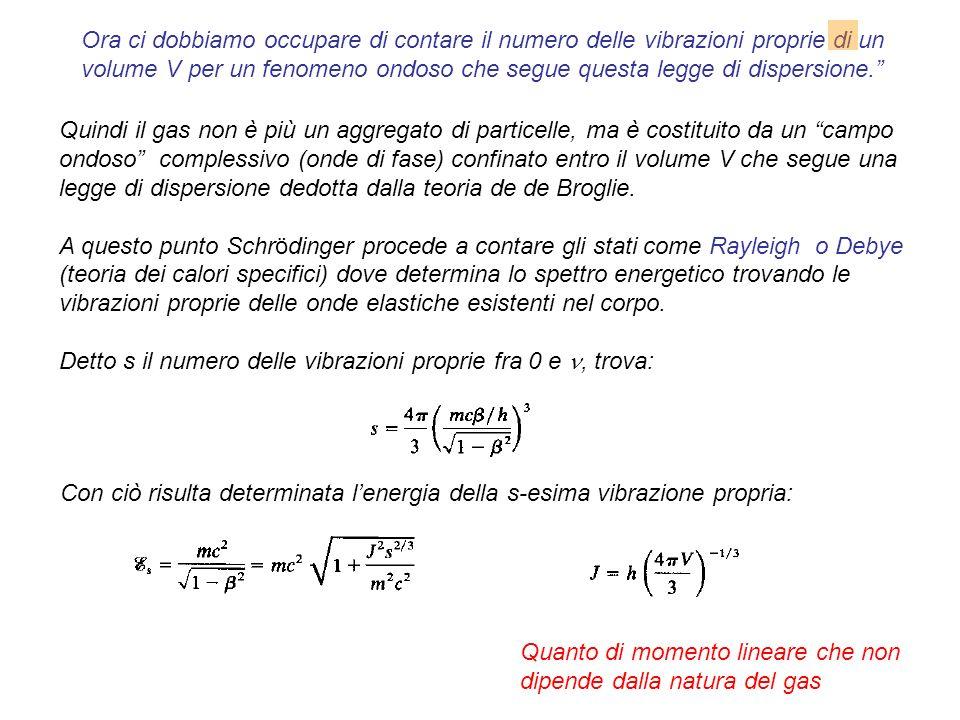 Quindi il gas non è più un aggregato di particelle, ma è costituito da un campo ondoso complessivo (onde di fase) confinato entro il volume V che segue una legge di dispersione dedotta dalla teoria de de Broglie.