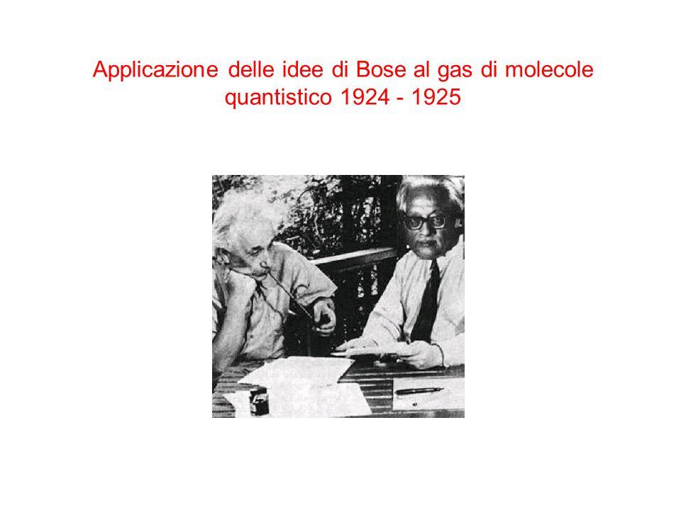 Applicazione delle idee di Bose al gas di molecole quantistico 1924 - 1925