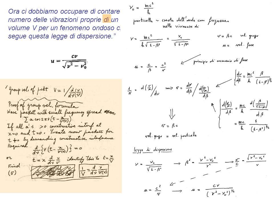 15 Ora ci dobbiamo occupare di contare il numero delle vibrazioni proprie di un volume V per un fenomeno ondoso che segue questa legge di dispersione.