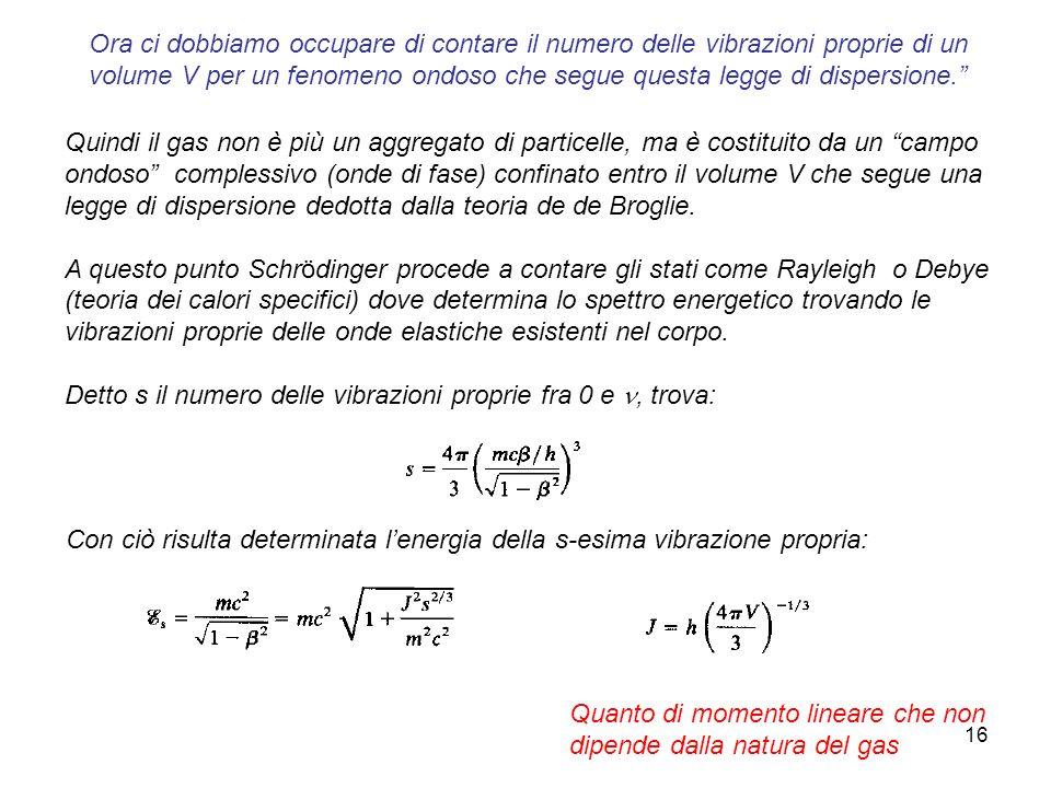 16 Quindi il gas non è più un aggregato di particelle, ma è costituito da un campo ondoso complessivo (onde di fase) confinato entro il volume V che s