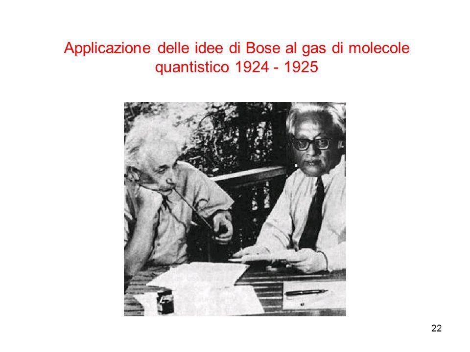22 Applicazione delle idee di Bose al gas di molecole quantistico 1924 - 1925