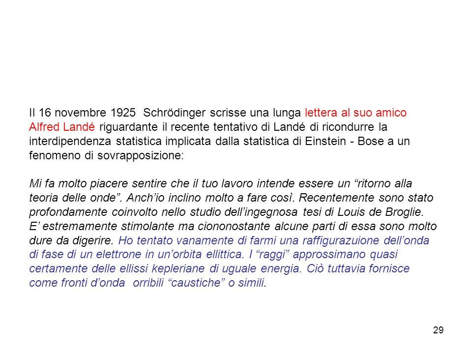 29 Il 16 novembre 1925 Schrödinger scrisse una lunga lettera al suo amico Alfred Landé riguardante il recente tentativo di Landé di ricondurre la inte