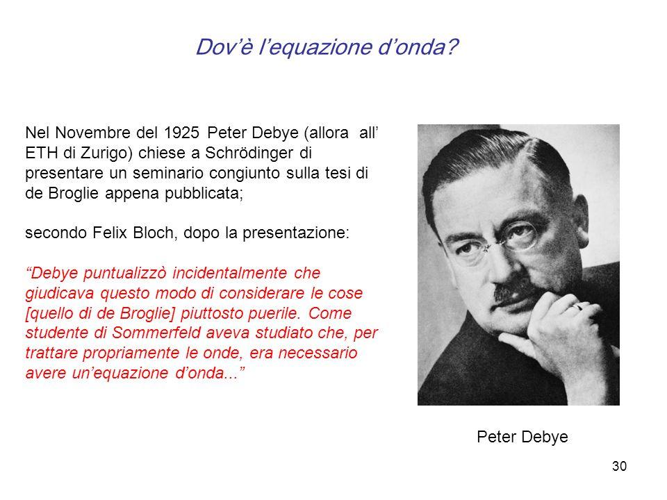 30 Nel Novembre del 1925 Peter Debye (allora all ETH di Zurigo) chiese a Schrödinger di presentare un seminario congiunto sulla tesi di de Broglie app