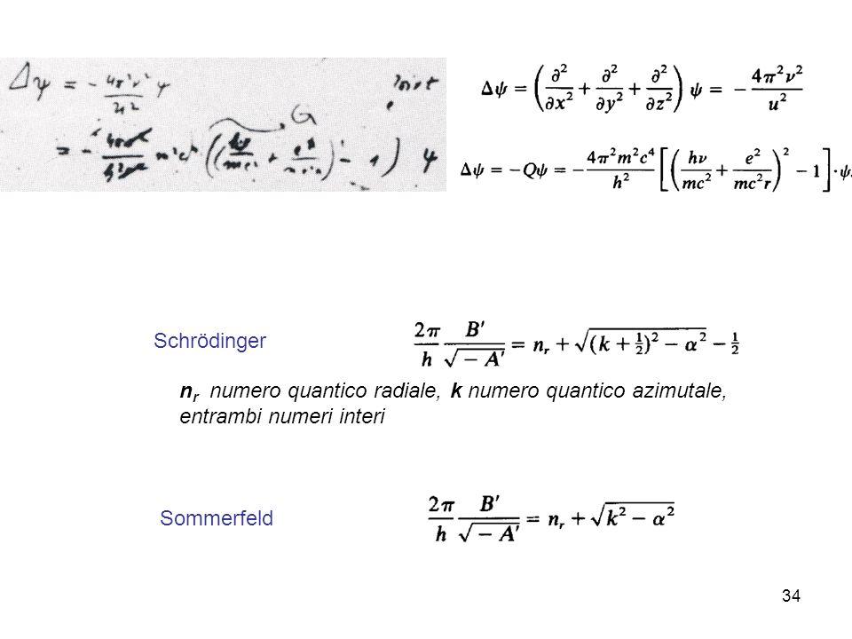 34 n r numero quantico radiale, k numero quantico azimutale, entrambi numeri interi Schrödinger Sommerfeld