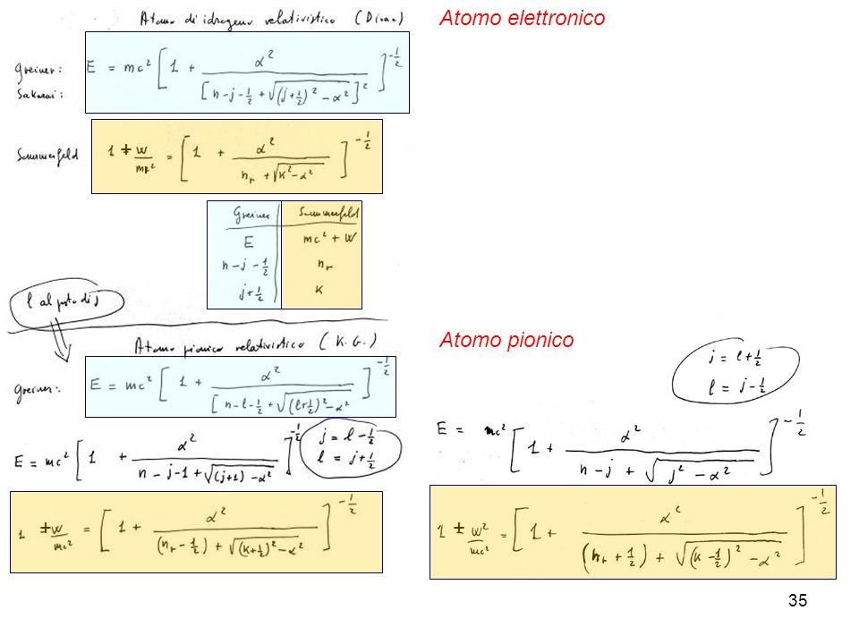 35 + ++ Atomo elettronico Atomo pionico
