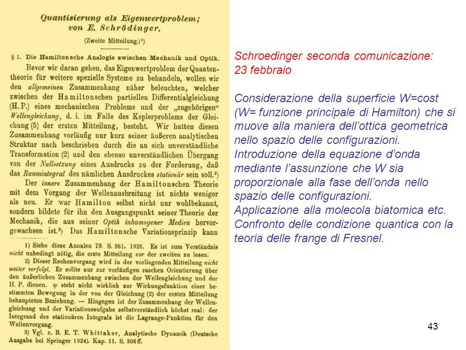 43 Schroedinger seconda comunicazione: 23 febbraio Considerazione della superficie W=cost (W= funzione principale di Hamilton) che si muove alla manie
