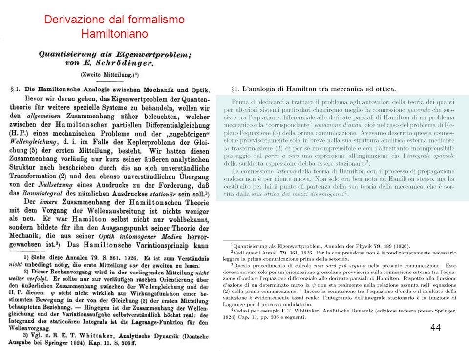 44 Derivazione dal formalismo Hamiltoniano