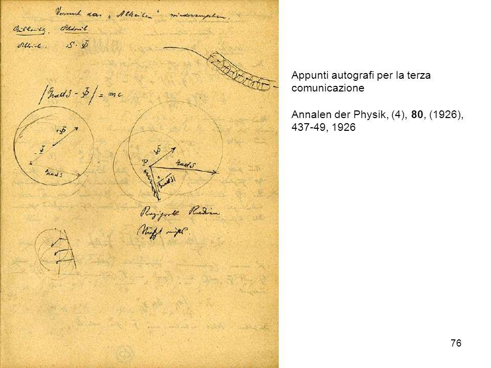 76 Appunti autografi per la terza comunicazione Annalen der Physik, (4), 80, (1926), 437-49, 1926