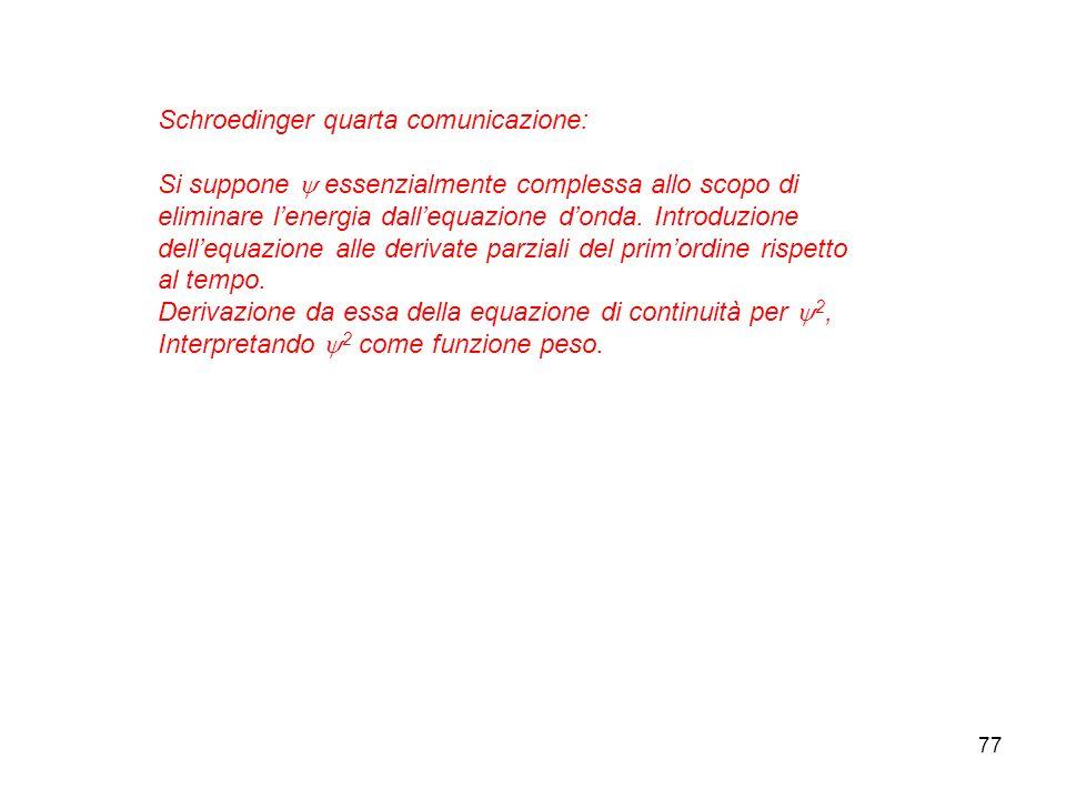 77 Schroedinger quarta comunicazione: Si suppone essenzialmente complessa allo scopo di eliminare lenergia dallequazione donda. Introduzione dellequaz
