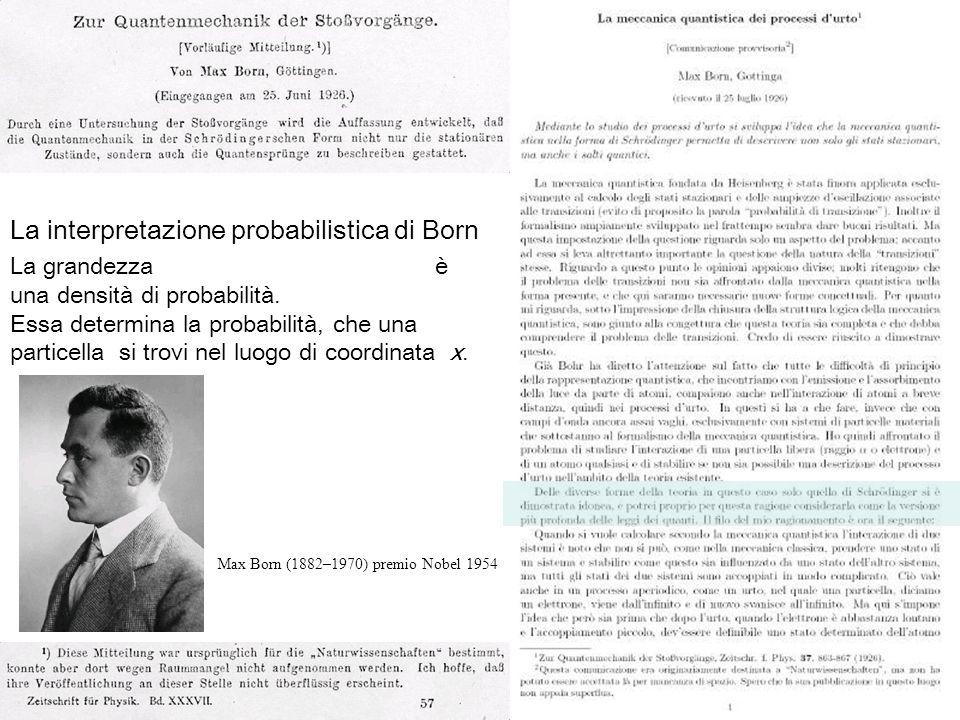 86 Max Born (1882–1970) premio Nobel 1954 La interpretazione probabilistica di Born La grandezza è una densità di probabilità. Essa determina la proba
