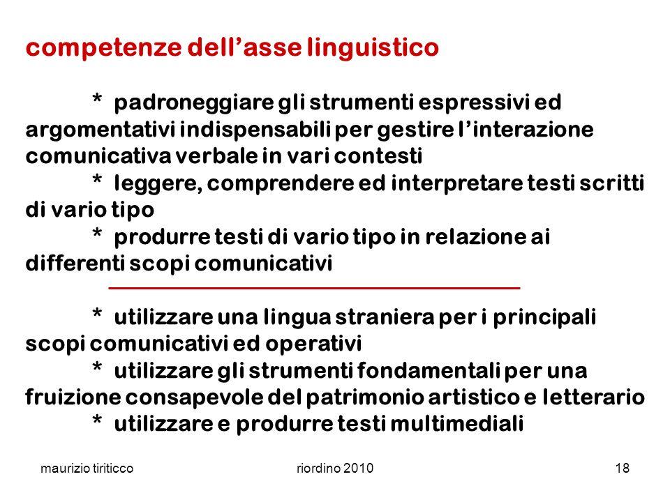 maurizio tiriticcoriordino 201018 competenze dellasse linguistico * padroneggiare gli strumenti espressivi ed argomentativi indispensabili per gestire