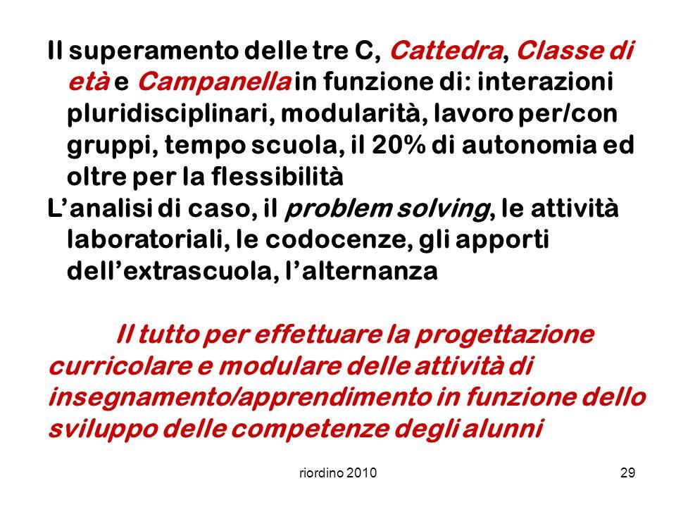 riordino 201029 Il superamento delle tre C, Cattedra, Classe di età e Campanella in funzione di: interazioni pluridisciplinari, modularità, lavoro per