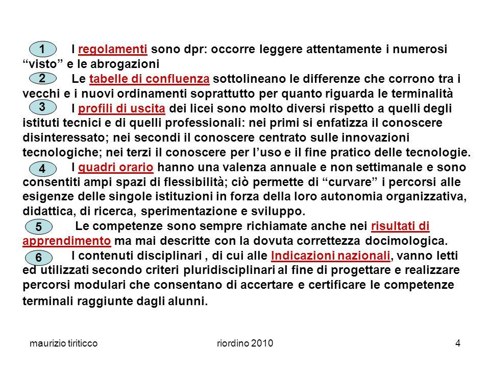 maurizio tiriticcoriordino 20104 I regolamenti sono dpr: occorre leggere attentamente i numerosi visto e le abrogazioni Le tabelle di confluenza sotto