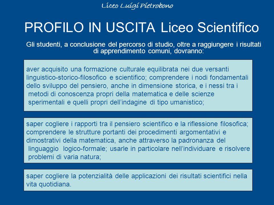 PROFILO IN USCITA Liceo Scientifico Gli studenti, a conclusione del percorso di studio, oltre a raggiungere i risultati di apprendimento comuni, dovra