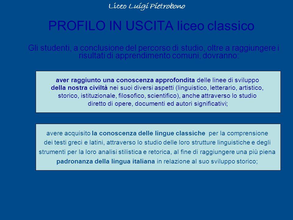 PROFILO IN USCITA liceo classico Gli studenti, a conclusione del percorso di studio, oltre a raggiungere i risultati di apprendimento comuni, dovranno