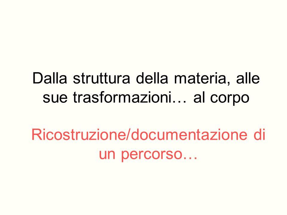 Ricostruzione/documentazione di un percorso… Dalla struttura della materia, alle sue trasformazioni… al corpo