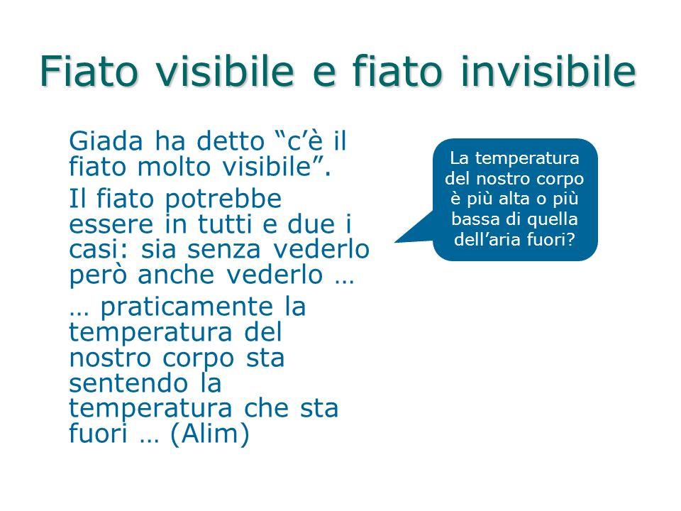 Fiato visibile e fiato invisibile Giada ha detto cè il fiato molto visibile. Il fiato potrebbe essere in tutti e due i casi: sia senza vederlo però an