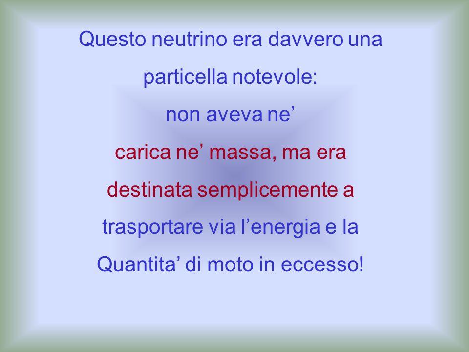 neutrino La risposta a questa domanda fu data da Pauli negli anni venti: essa era trasportata via da una particella invisibile che egli chiamò neutrin
