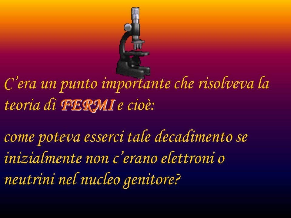 Essa fu correttamente compresa dal fisico italiano E.Fermi quando avanzo lipotesi piu semplice possibile che la probabilita del decadimento beta fosse