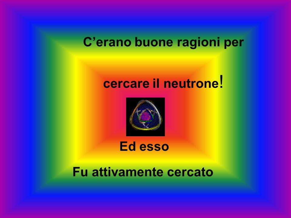 Già lo stesso Rutherford aveva fatto lipotesi che le coppie elettrone - protone potessero combinarsi in una particella neutra pesante che chiamò NEUTR