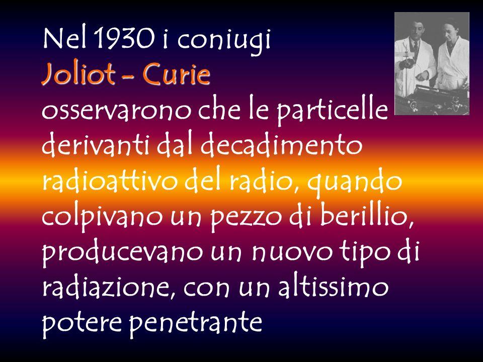 Nel 1929, in Italia, le esperienze di RASETTI sulla spettroscopia delle molecole di azoto, misero in crisi lipotesi della presenza degli elettroni nel