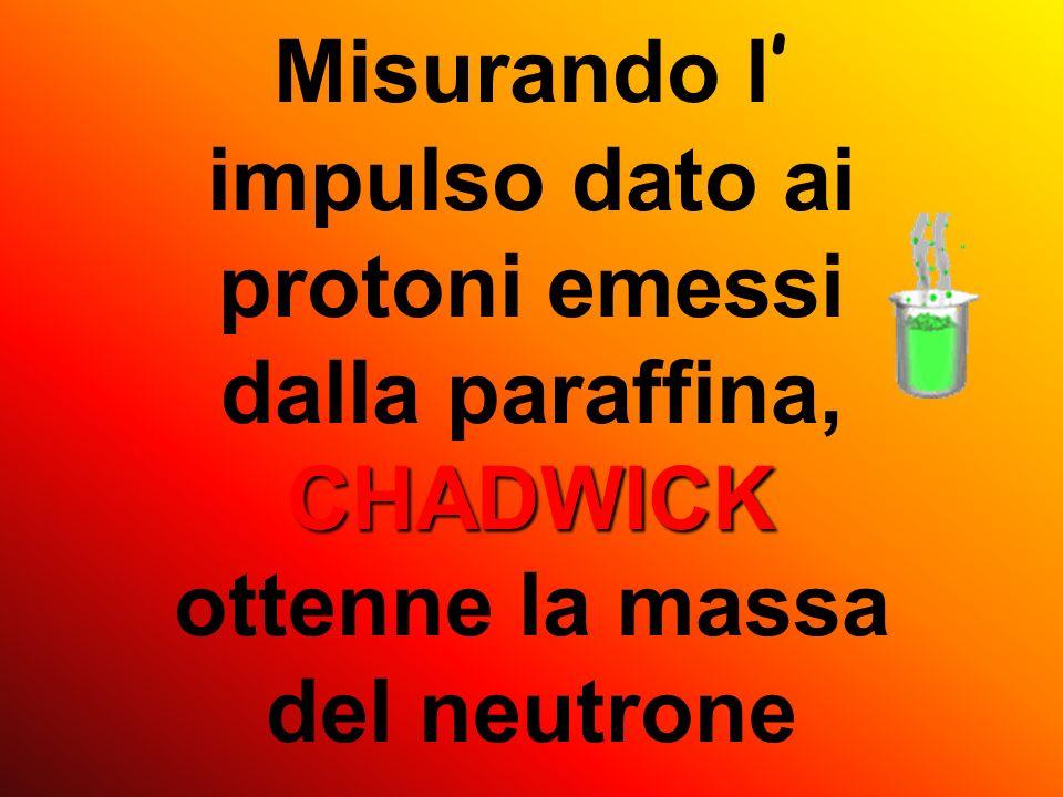 Nel 1923 il fisico inglese James Chadwick fece rilevare che lunico modo per dare un tale impulso a dei protoni era di usare delle particelle altrettan