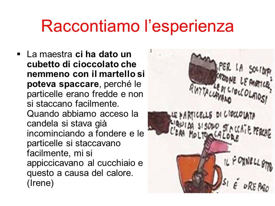 Raccontiamo lesperienza La maestra ci ha dato un cubetto di cioccolato che nemmeno con il martello si poteva spaccare, perché le particelle erano fred