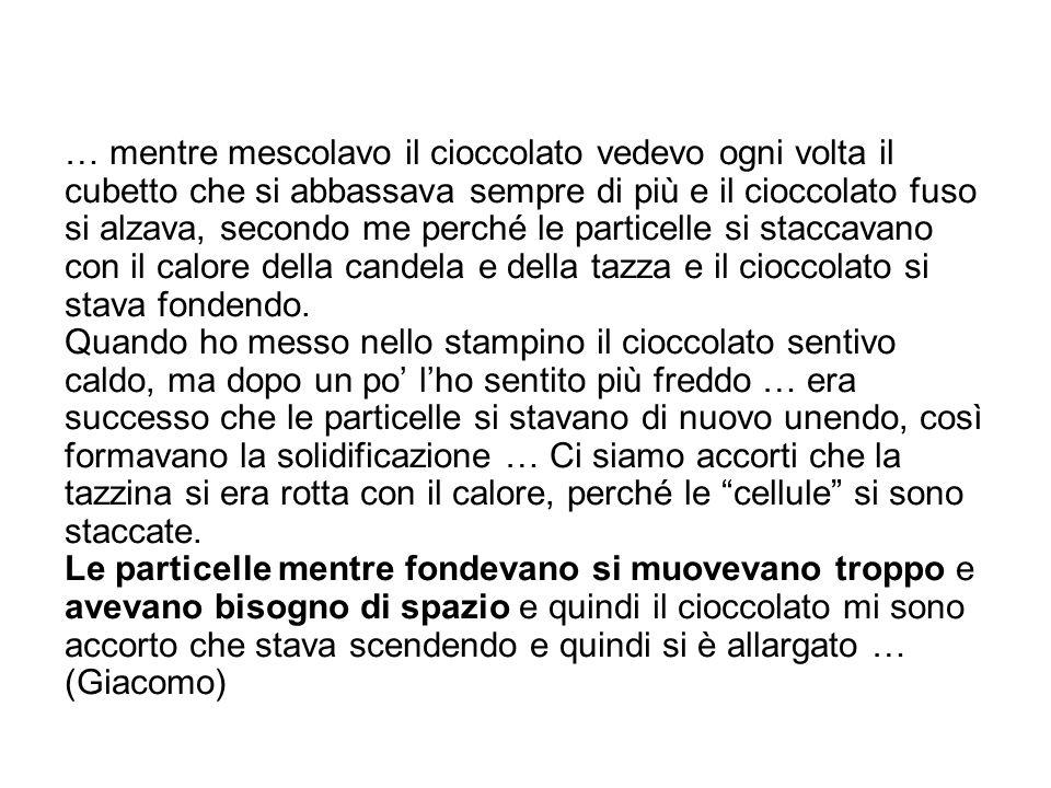 … mentre mescolavo il cioccolato vedevo ogni volta il cubetto che si abbassava sempre di più e il cioccolato fuso si alzava, secondo me perché le part
