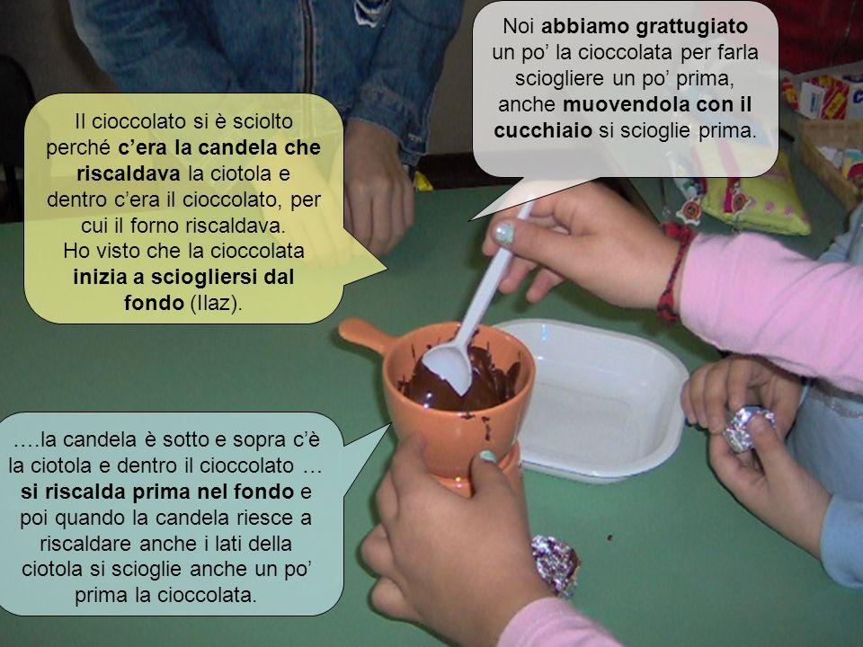 Il cioccolato sta fondendo Il cioccolato si è sciolto perché cera la candela che riscaldava la ciotola e dentro cera il cioccolato, per cui il forno r
