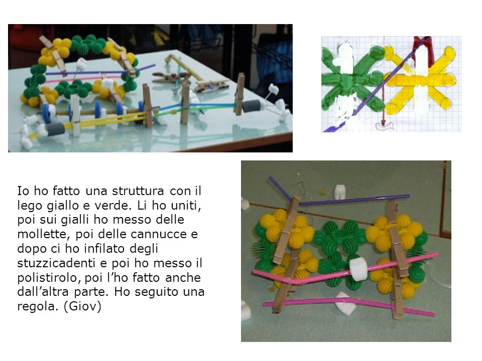 Io ho fatto una struttura con il lego giallo e verde. Li ho uniti, poi sui gialli ho messo delle mollette, poi delle cannucce e dopo ci ho infilato de