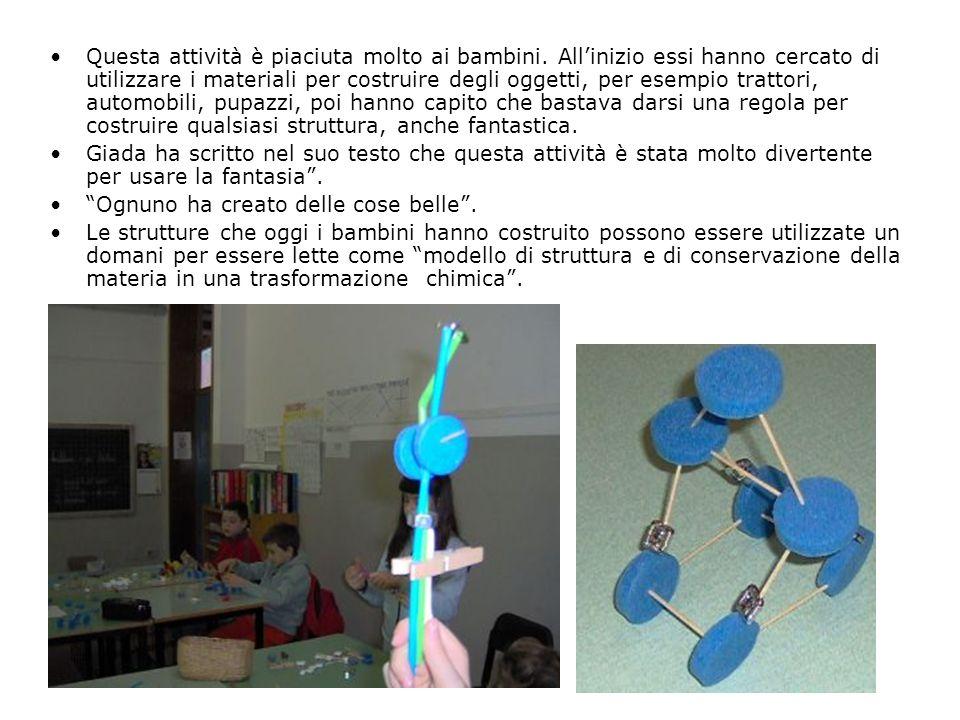 Questa attività è piaciuta molto ai bambini. Allinizio essi hanno cercato di utilizzare i materiali per costruire degli oggetti, per esempio trattori,