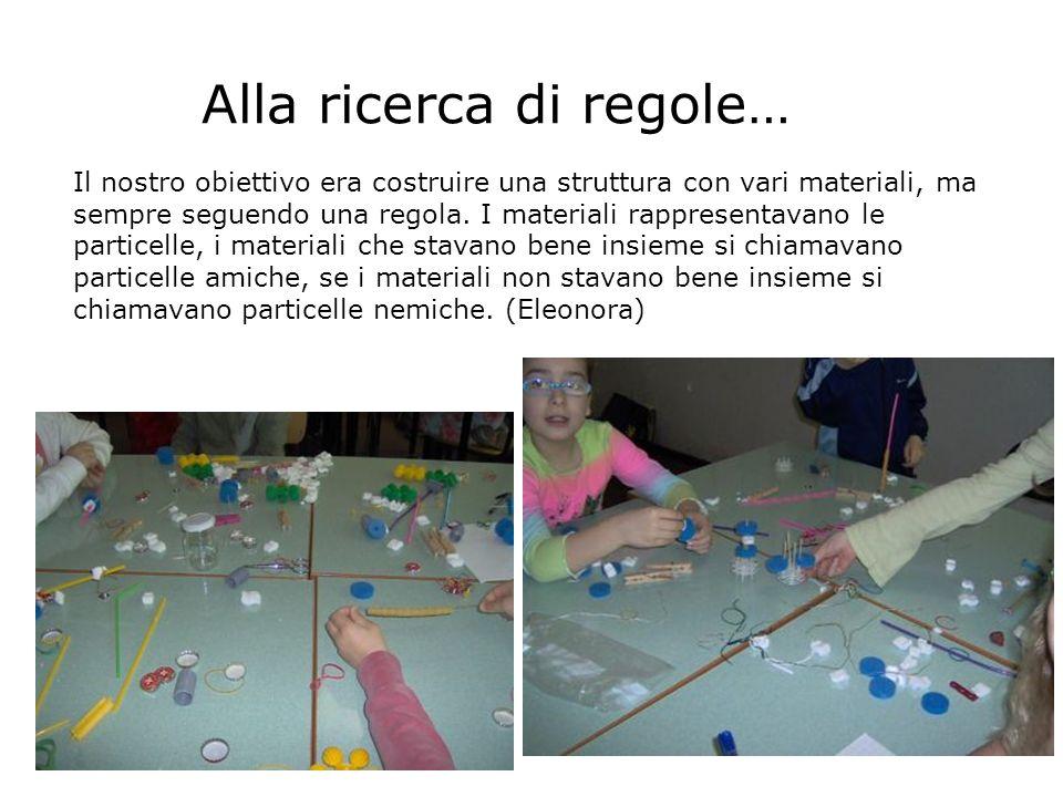 Alla ricerca di regole… Il nostro obiettivo era costruire una struttura con vari materiali, ma sempre seguendo una regola. I materiali rappresentavano