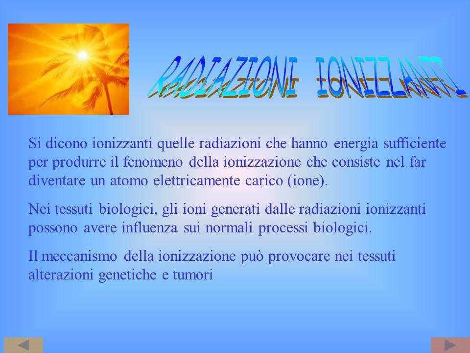 Si dicono ionizzanti quelle radiazioni che hanno energia sufficiente per produrre il fenomeno della ionizzazione che consiste nel far diventare un ato
