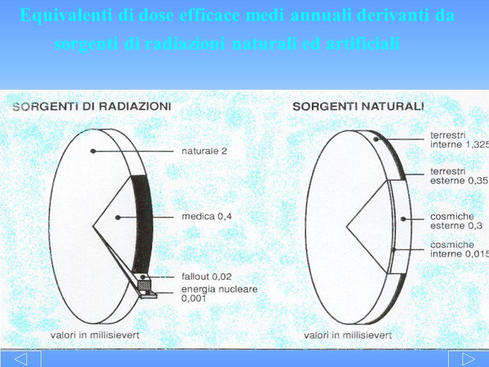 Equivalenti di dose efficace medi annuali derivanti da sorgenti di radiazioni naturali ed artificiali