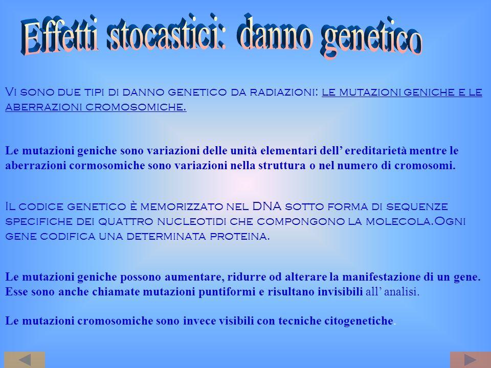 Vi sono due tipi di danno genetico da radiazioni: le mutazioni geniche e le aberrazioni cromosomiche. Le mutazioni geniche sono variazioni delle unità
