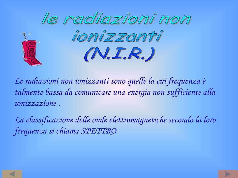 Le radiazioni non ionizzanti sono quelle la cui frequenza è talmente bassa da comunicare una energia non sufficiente alla ionizzazione. La classificaz
