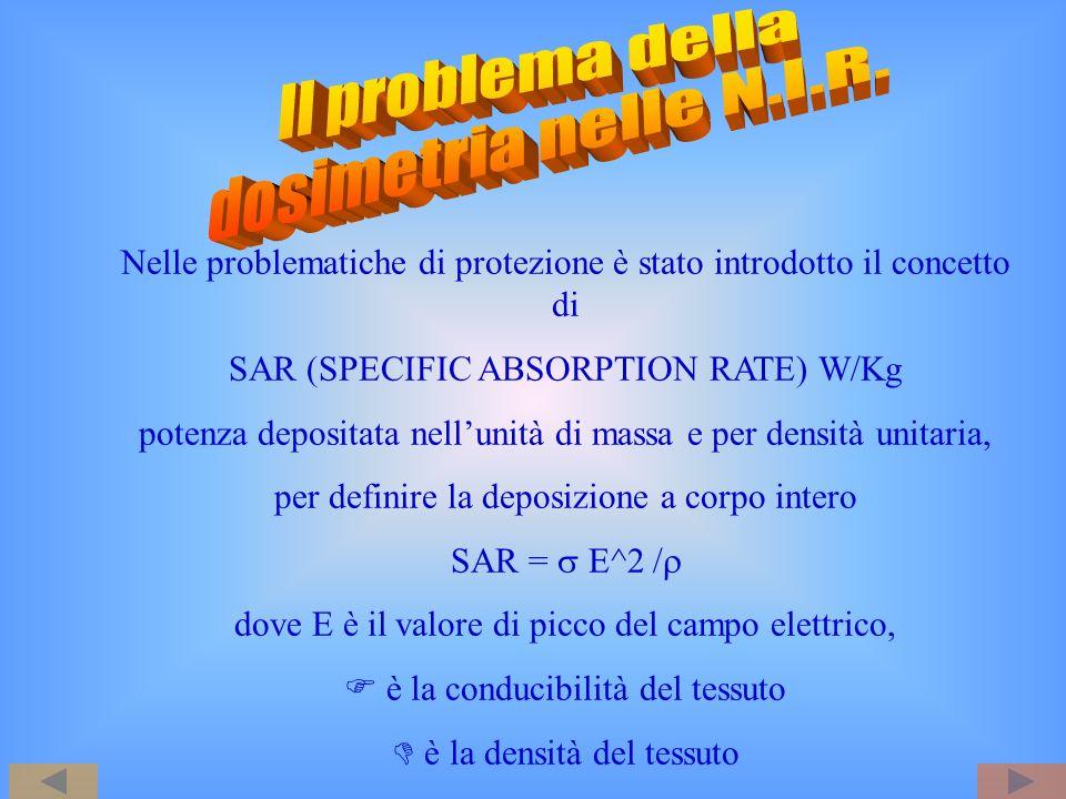 Nelle problematiche di protezione è stato introdotto il concetto di SAR (SPECIFIC ABSORPTION RATE) W/Kg potenza depositata nellunità di massa e per de