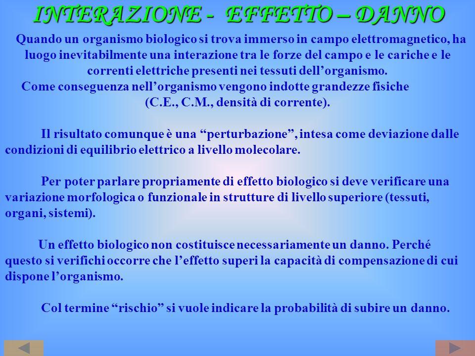 INTERAZIONE - EFFETTO – DANNO INTERAZIONE - EFFETTO – DANNO Quando un organismo biologico si trova immerso in campo elettromagnetico, ha luogo inevita