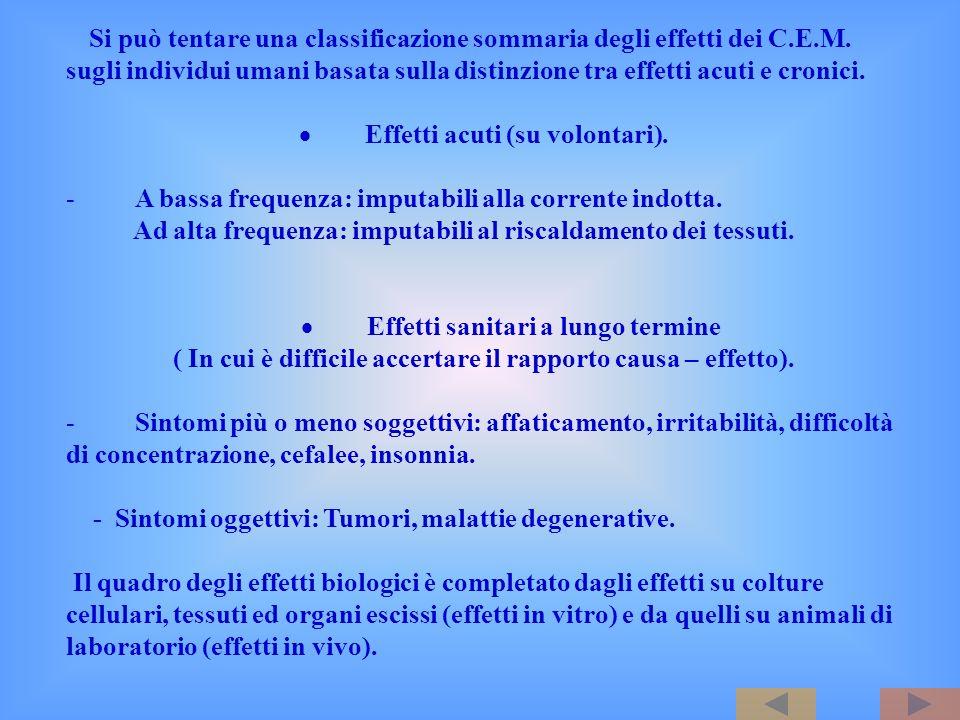 Si può tentare una classificazione sommaria degli effetti dei C.E.M. sugli individui umani basata sulla distinzione tra effetti acuti e cronici. Effet