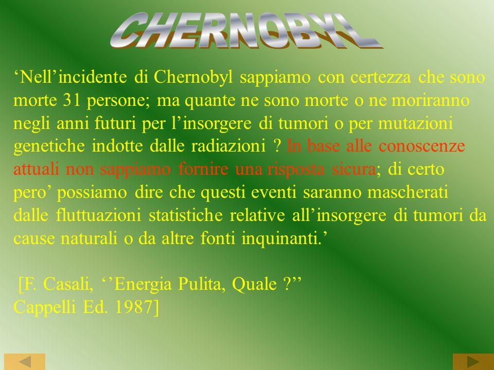 Nellincidente di Chernobyl sappiamo con certezza che sono morte 31 persone; ma quante ne sono morte o ne moriranno negli anni futuri per linsorgere di