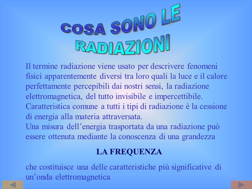 IONIZZANTI (I.R.) NON IONIZZANTI (N.I.R.) effetti biologici Questa distinzione è fondamentale perché gli effetti biologici prodotti sugli esseri viventi sono diversi a seconda che la radiazione sia ionizzante oppure no