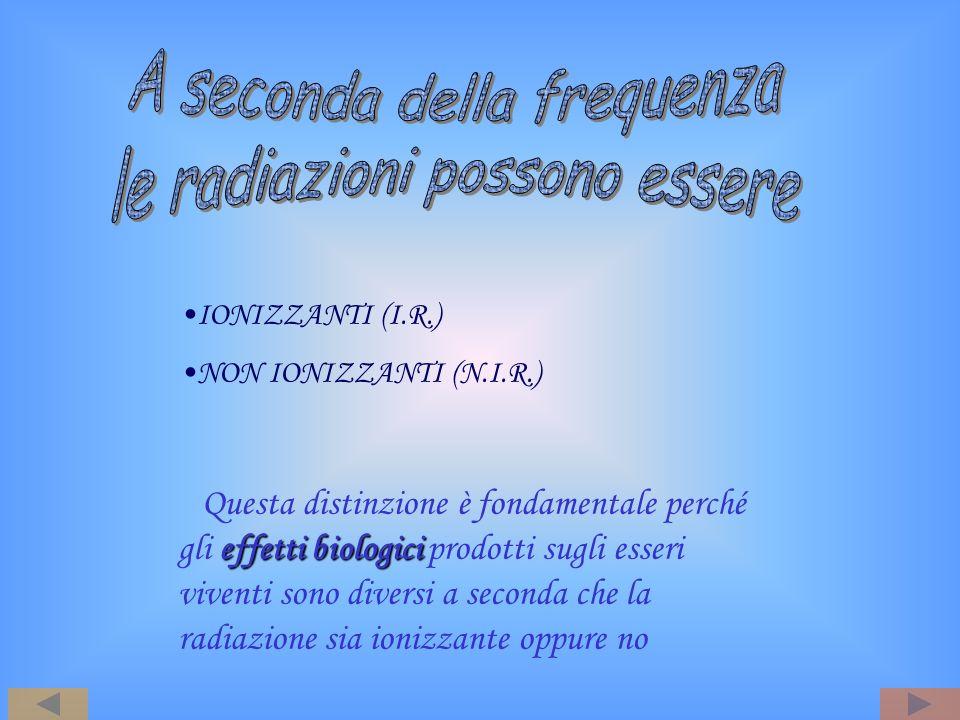 IONIZZANTI (I.R.) NON IONIZZANTI (N.I.R.) effetti biologici Questa distinzione è fondamentale perché gli effetti biologici prodotti sugli esseri viven