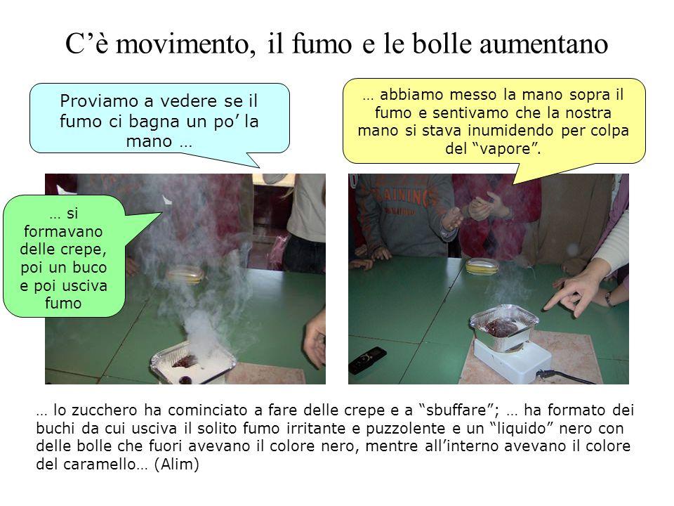 Cè movimento, il fumo e le bolle aumentano … abbiamo messo la mano sopra il fumo e sentivamo che la nostra mano si stava inumidendo per colpa del vapo