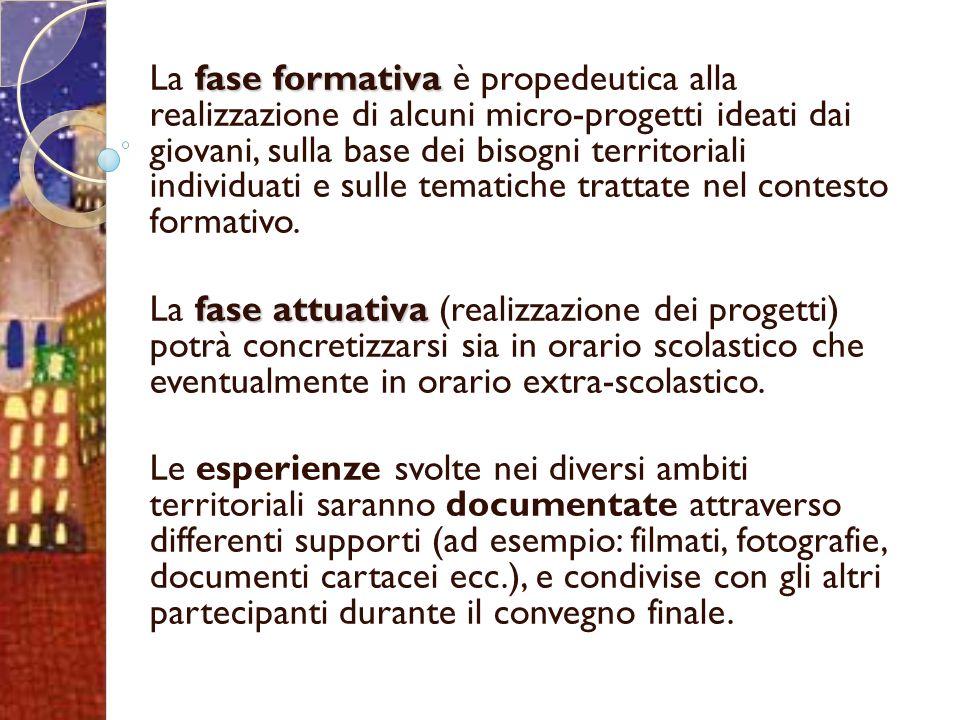 fase formativa La fase formativa è propedeutica alla realizzazione di alcuni micro-progetti ideati dai giovani, sulla base dei bisogni territoriali individuati e sulle tematiche trattate nel contesto formativo.