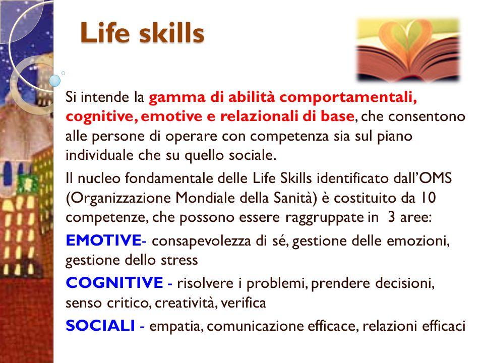 Life skills Si intende la gamma di abilità comportamentali, cognitive, emotive e relazionali di base, che consentono alle persone di operare con competenza sia sul piano individuale che su quello sociale.