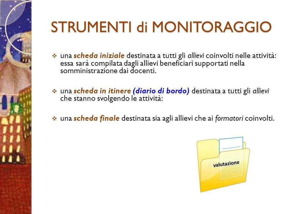 STRUMENTI di MONITORAGGIO una scheda iniziale destinata a tutti gli allievi coinvolti nelle attività: essa sarà compilata dagli allievi beneficiari supportati nella somministrazione dai docenti.