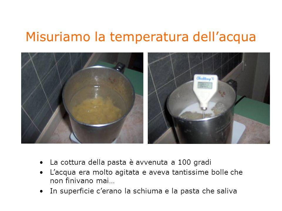 Misuriamo la temperatura dellacqua La cottura della pasta è avvenuta a 100 gradi Lacqua era molto agitata e aveva tantissime bolle che non finivano ma